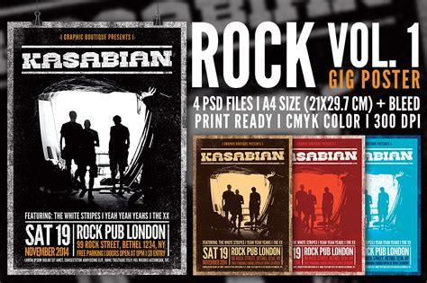 rock gig poster vol 1 flyer templates on creative market
