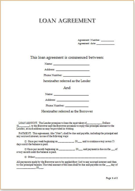 Loan Agreement Format For Money Lending Vatansun Unsecured Loan Agreement Template Free