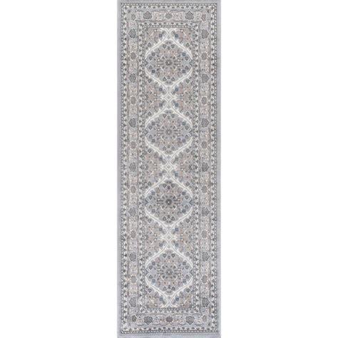 runner rugs 2 x 10 tayse rugs gray 2 ft 3 in x 10 ft runner mdn3709 2x10 the home depot