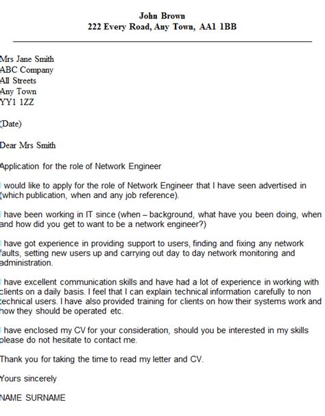 network engineer cover letter exles network engineer cover letter exle icover org uk