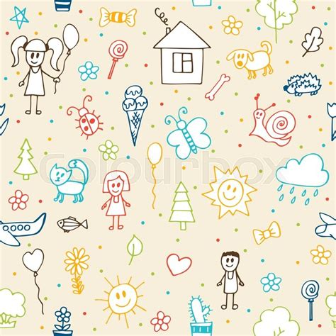pattern drawing illustrator hand drawn children drawings seamless pattern doodle