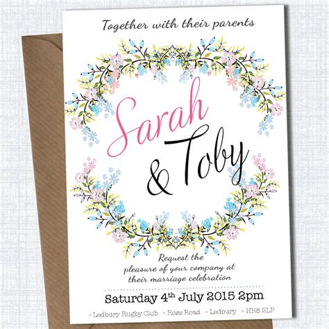 Personalised Invitations by Personalised Floral Wedding Invitation By Violet Pickles