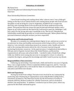 Personal Statement Template For A by Sle Personal Statement Format 9 Exles In Pdf Word