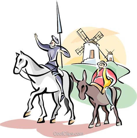 clipart donne don quixote and sancho panza royalty free vector clip