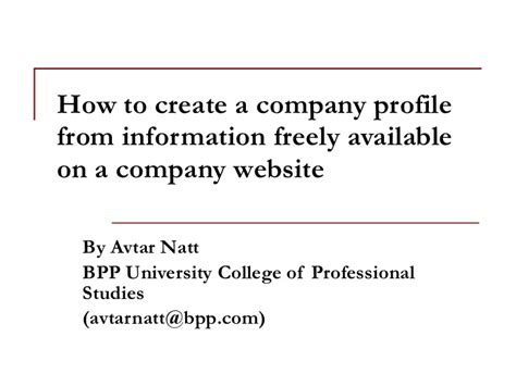 how to create company profile how to create a company profile from information freely available on