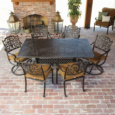 modern patio dining set evangeline 6 person cast aluminum patio dining set
