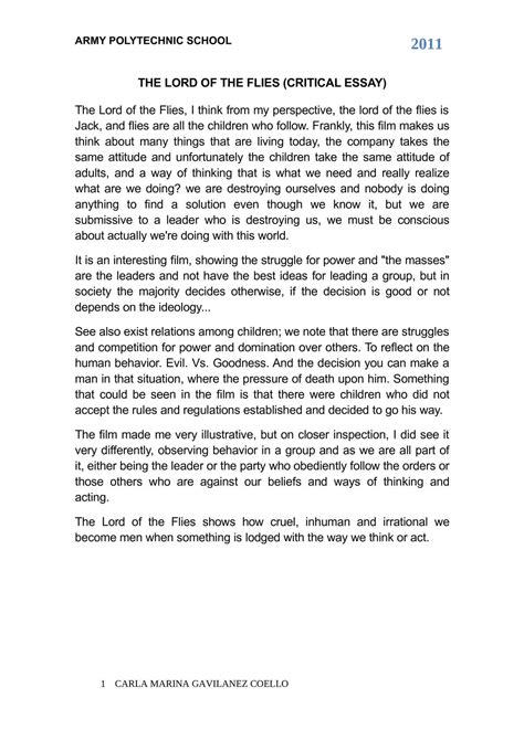 Lord Of The Flies Critical Essay by Calam 233 O The Lord Of The Flies Critical Essay