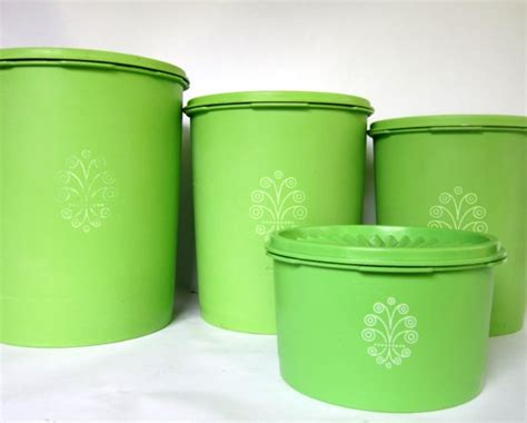 vintage lime green tupperware canister set of 4 swirl
