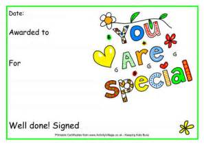 you are special award certificate