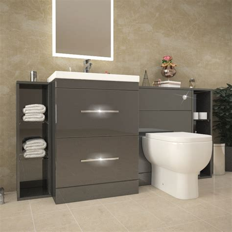Patello 1600 Fitted Bathroom Furniture Grey Buy Online At Bathroom Fitted Furniture Uk