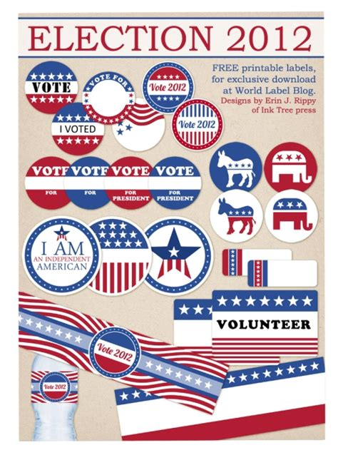 printable voting stickers free printables election day 2012 labels for both