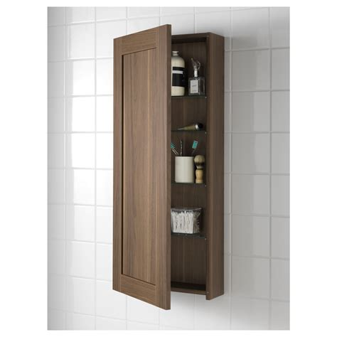 Godmorgon Wall Cabinet With 1 Door Walnut Effect 40x14x96 Ikea Bathroom Cabinet Storage
