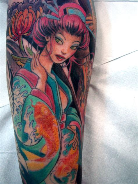geisha tattoo sleeve designs classic geisha tattoo design for sleeve
