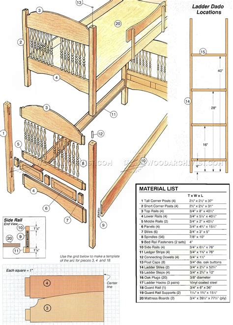 bunk bed woodworking plans colonial bunk bed plans woodarchivist