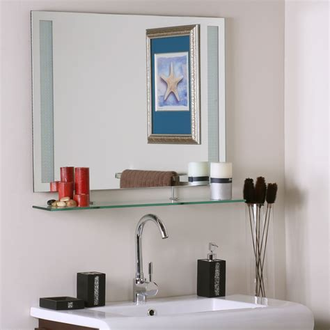 Frameless Bathroom Mirror With Shelf In Frameless Mirrors Frameless Bathroom Mirror