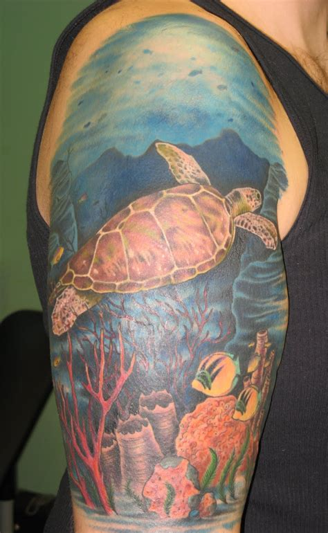john bicknell sea turtle ocean scene tattoo