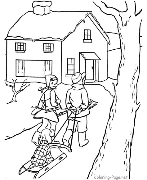 Free Coloring Pages Winter Scenes | winter scene coloring pages for adults coloring pages