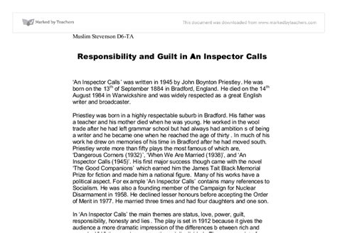 theme of guilt in an inspector calls responsibility and guilt in an inspector calls gcse