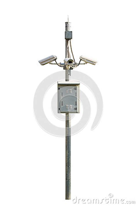 cctv security camera outdoor  steel pole isolated  whi stock photo image