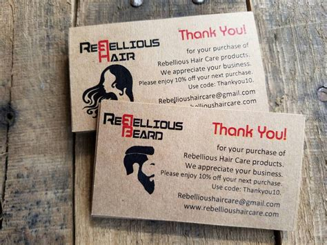 Etsy Gift Card Discount - custom hair nail salon beauty salon thank you cards promo