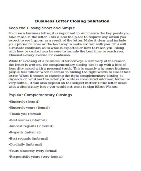 Business Letter Closing Company Name Sle Business Letter Salutation 5 Exles In Word Pdf
