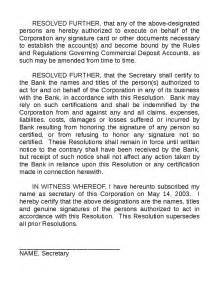 resolution law corporate resolution to open bank