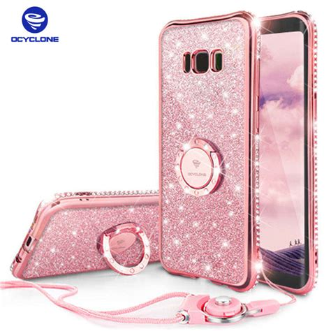 Casing Samsung Galaxy Note 8 Glitter Ring Stand Soft Slim Tpu for samsung galaxy s8 plus ring s8 cover for samsung note 8 ring bling cover