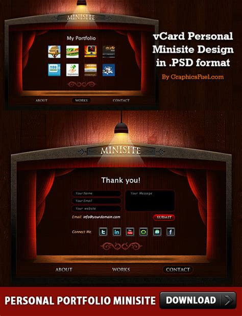 free minisite template free personal portfolio minisite psd layouts