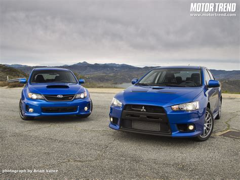 subaru evo 2011 subaru wrx sti and 2010 mitsubishi lancer evolution x