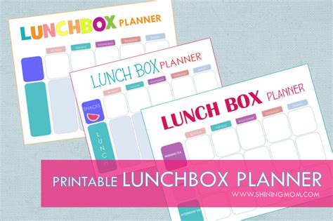 lunch box planner printable free printable easy 5 day lunchbox planner