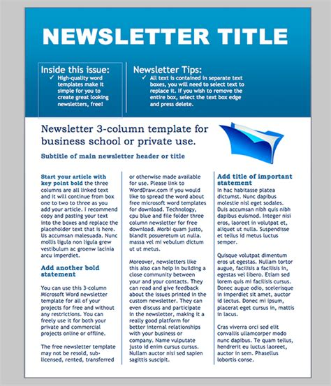 6 Free Newsletter Word Templates Excel Pdf Formats Free Church Newsletter Templates For Microsoft Word