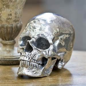 Home Decor Skulls by Regina Andrew Silver Metal Skull Eclectic Home Decor