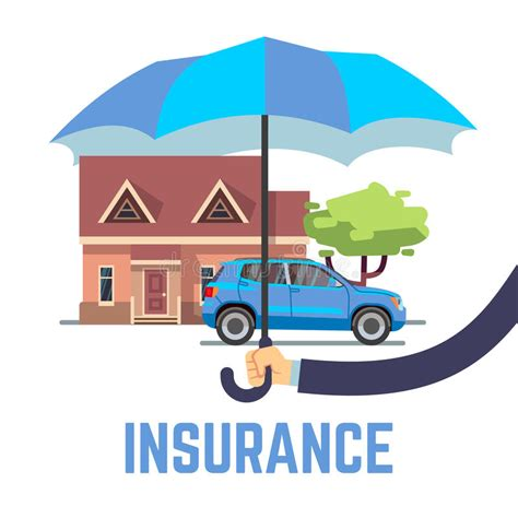 car and house insurance insurance vector flat safe concept with hand holding umbrella over house and car stock vector
