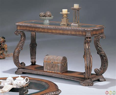 brown living room table set carved traditional brown 3 living room table set