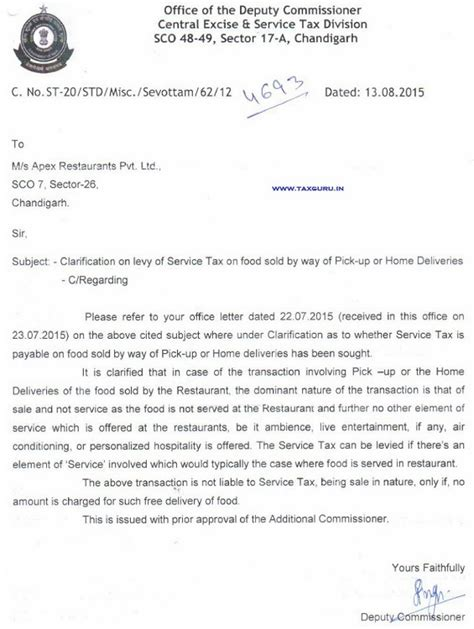 Service Letter No L180b Service Tax On Free Up Home Delivery Of Food Being Sale In Nature