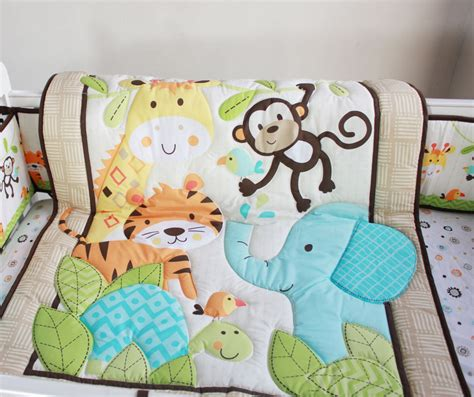 baby coverlet new happy jungle animals friends baby crib bedding set