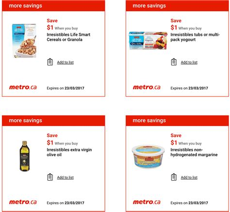 printable grocery coupons ontario canada metro ontario canada exclusive printable coupons march 16
