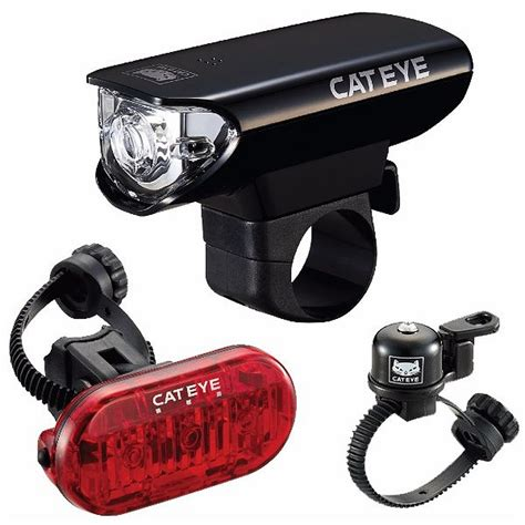 bicycle led set of 2 light cateye gotham front and rear led bike light set with bell