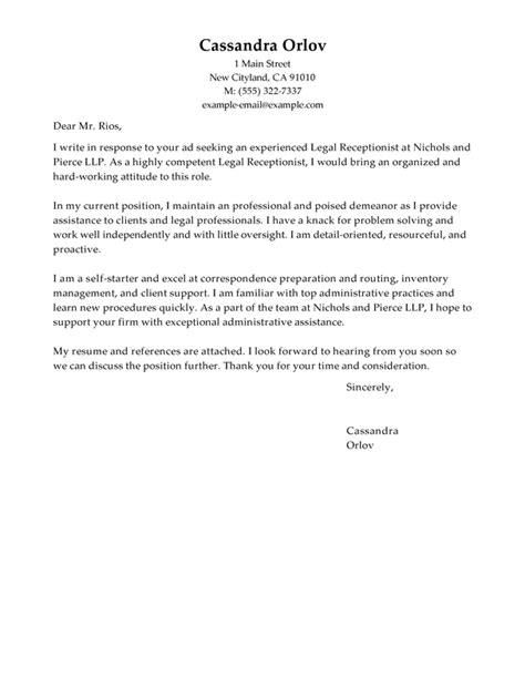 Cover Letter For At Firm Best Receptionist Cover Letter Exles Livecareer