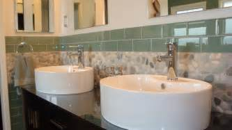 bathroom modern tile ideas backsplash:  pebble tile and x sage green glass subway tile contemporary bathroom