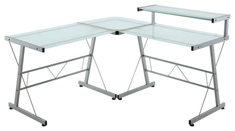 l shaped workstation with frosted glass top modern