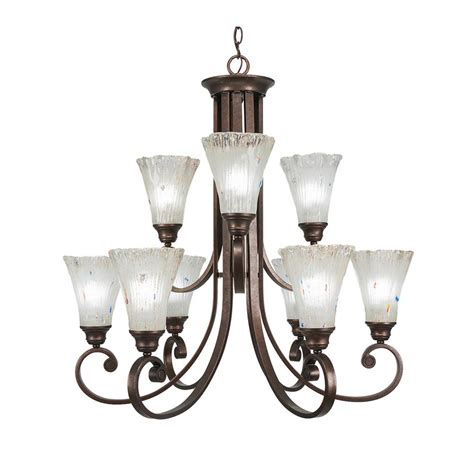 9 light chandelier bronze filament design 9 light bronze chandelier with frosted