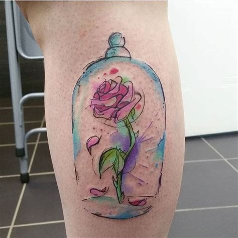 disney rose tattoo and the beast watercolour tattoos