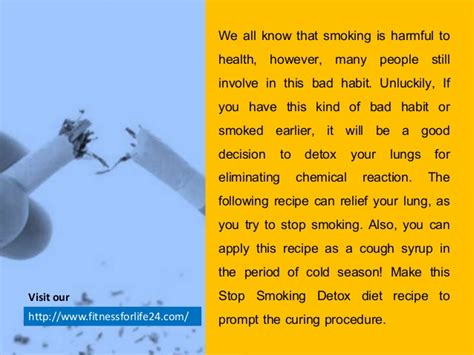 Tobacco Detox Diet by Make This Stop Detox Diet And Take On Empty