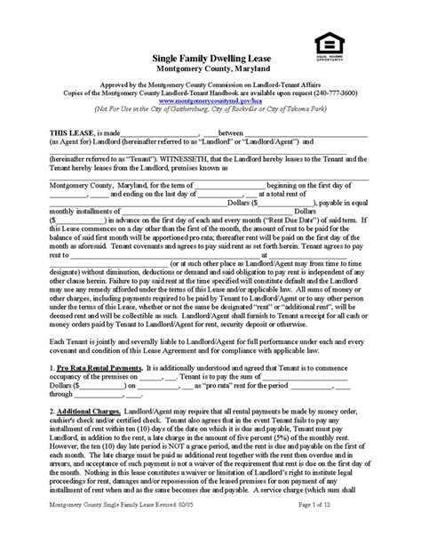 Montgomery County Application Montgomery County Lease Single Family Ez Landlord Forms