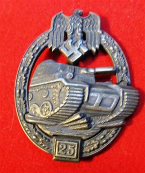 ww2 era german panzer assault uniform badge 25 engagements shoulder to shoulder collectibles