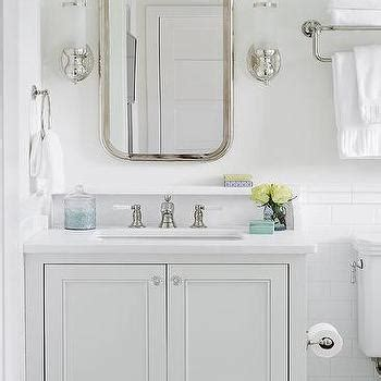 grey and turquoise bathroom bleached oak vanity with bone inlay mirror transitional