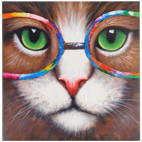 cuadro gato xx cm pintado  mano al oleo ofisillases