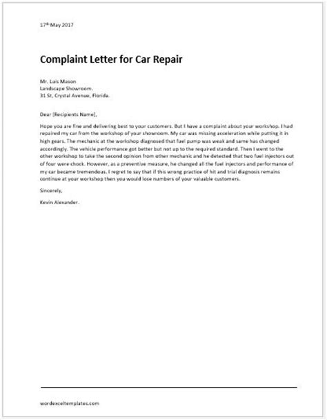 Complaint Letter For Car Service Complaint Service Letter Vehicle Repair Complaint Letter