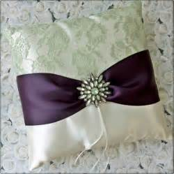 wedding pillow rings eggplant green and ivory weddings ring bearer pillow all4brides wedding on artfire